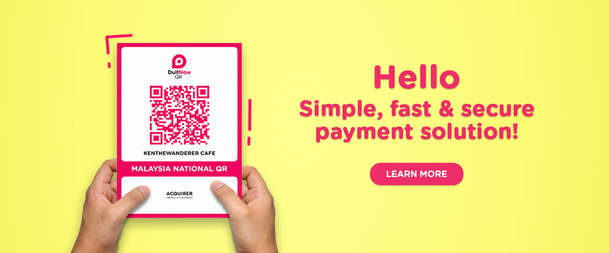 Introducing DuitNow QR. Simple, fast & secure payment solution. 1 QR For All